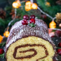 Yule Log Cake with Chocolate Ganache