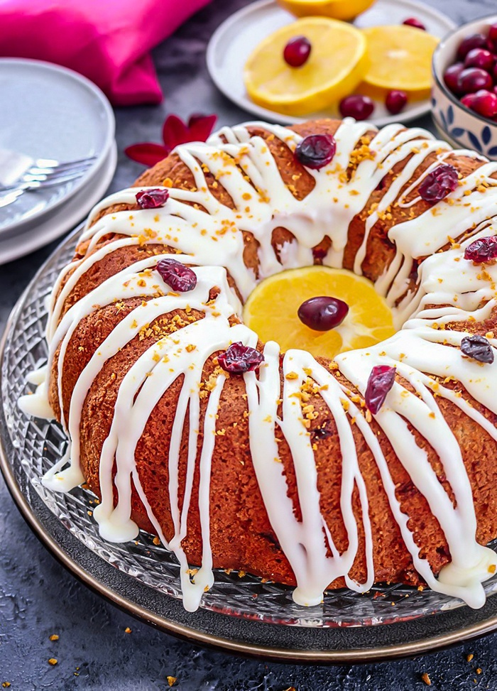 Drizzled White Chocolate Cranberry Bundt Cake
