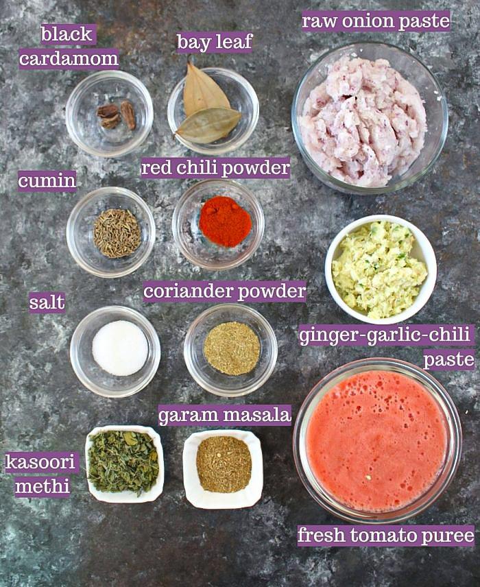 Ingredients for Palak chicken