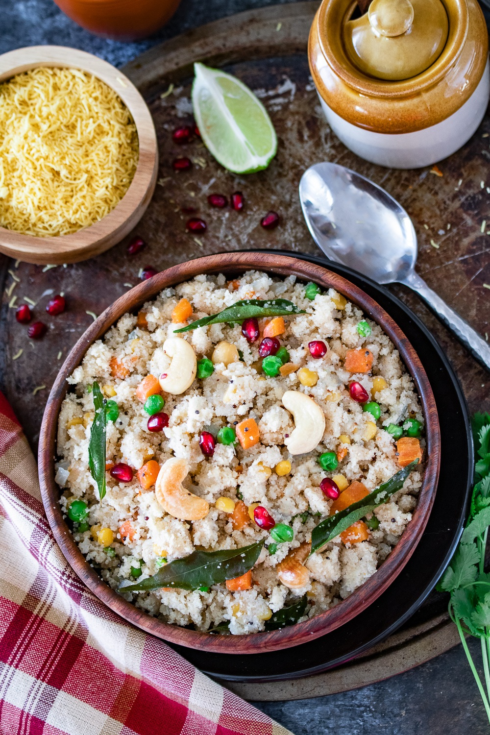 Upma with pickle and lemon wedge