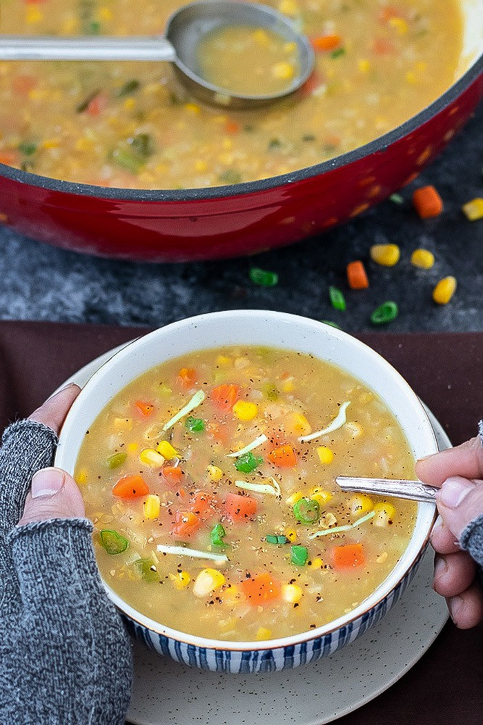 Ready to dig in the Sweet corn soup