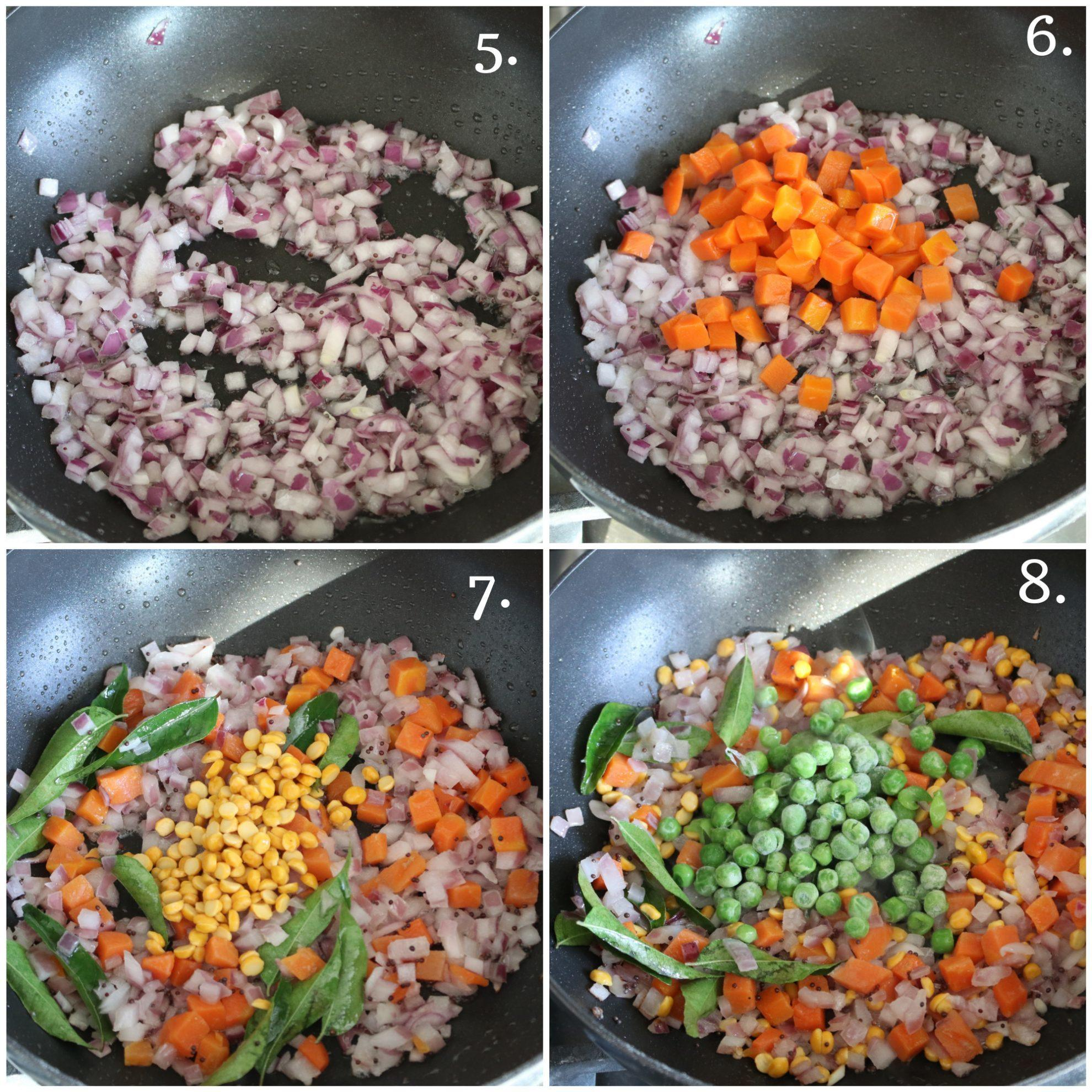 Step by step making of upma