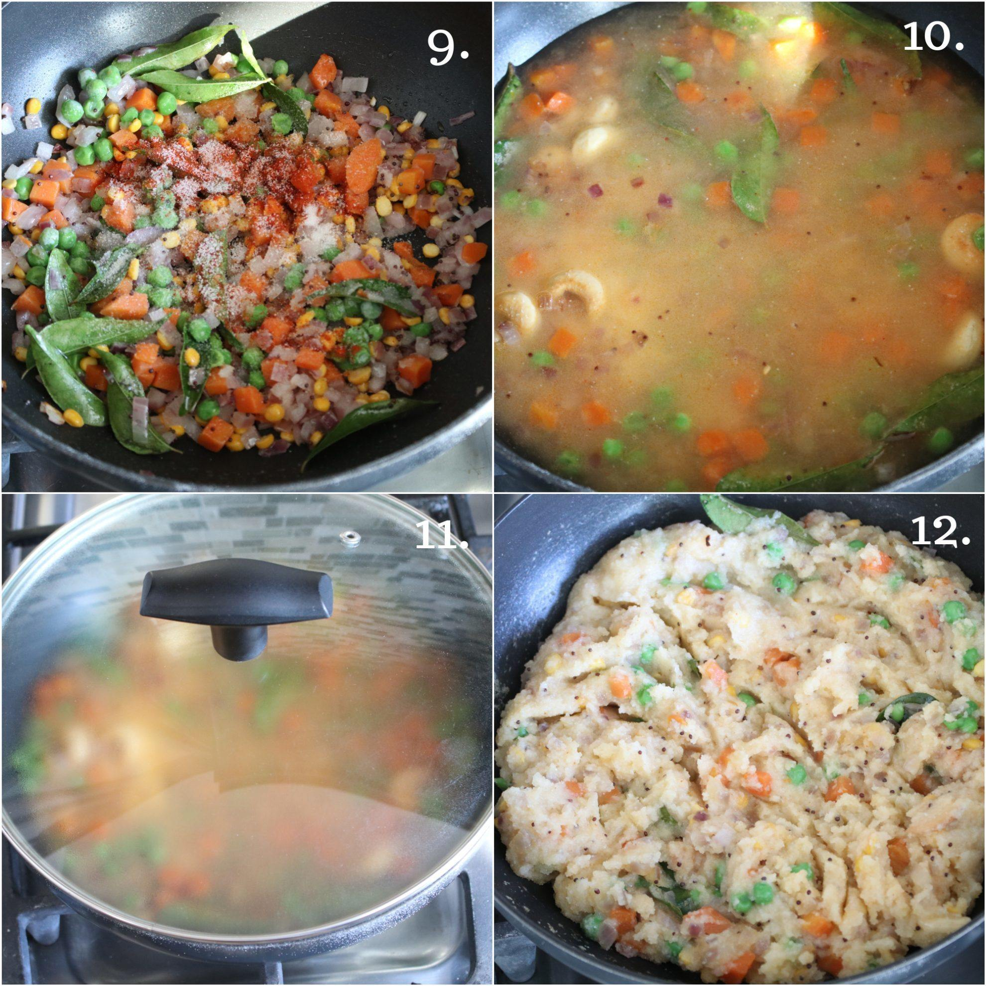 Steam cooking Upma