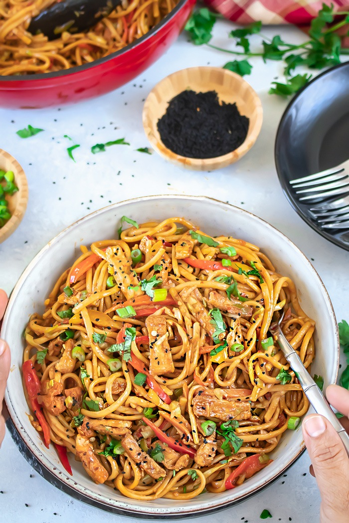 Chili garlic noodles with fork