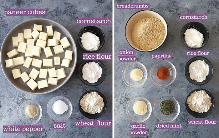 Ingredients for Spicy paneer bites