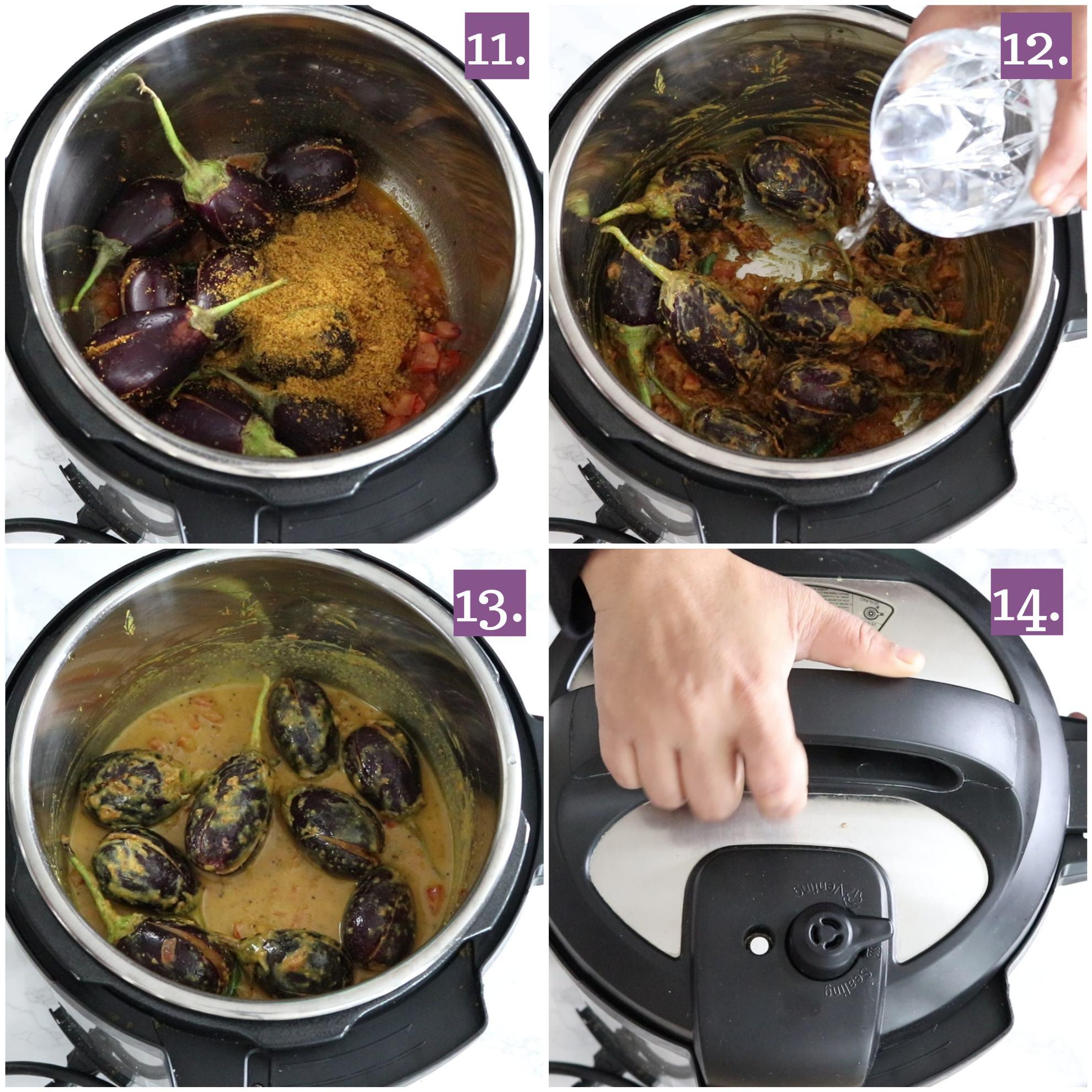 Pressure cook bharwan Baingan