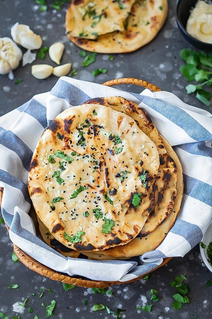 Tandoori Garlic Roti in a basket