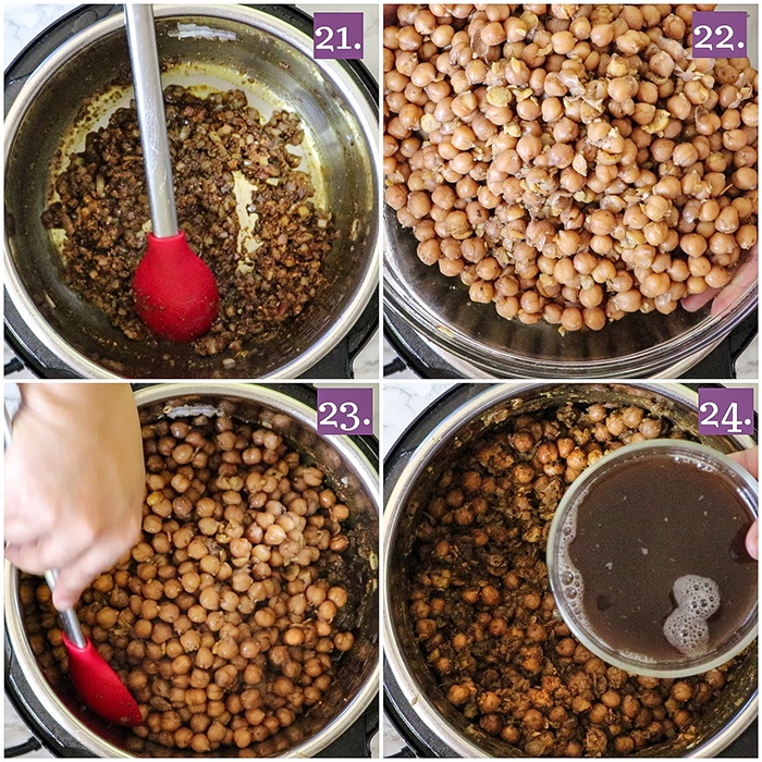 Add boiled chole to the Instant Pot