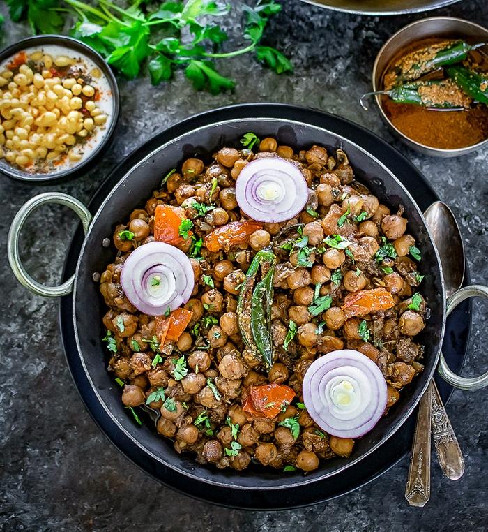 Instant Pot Pindi Chole with chili pickle and boondi raita