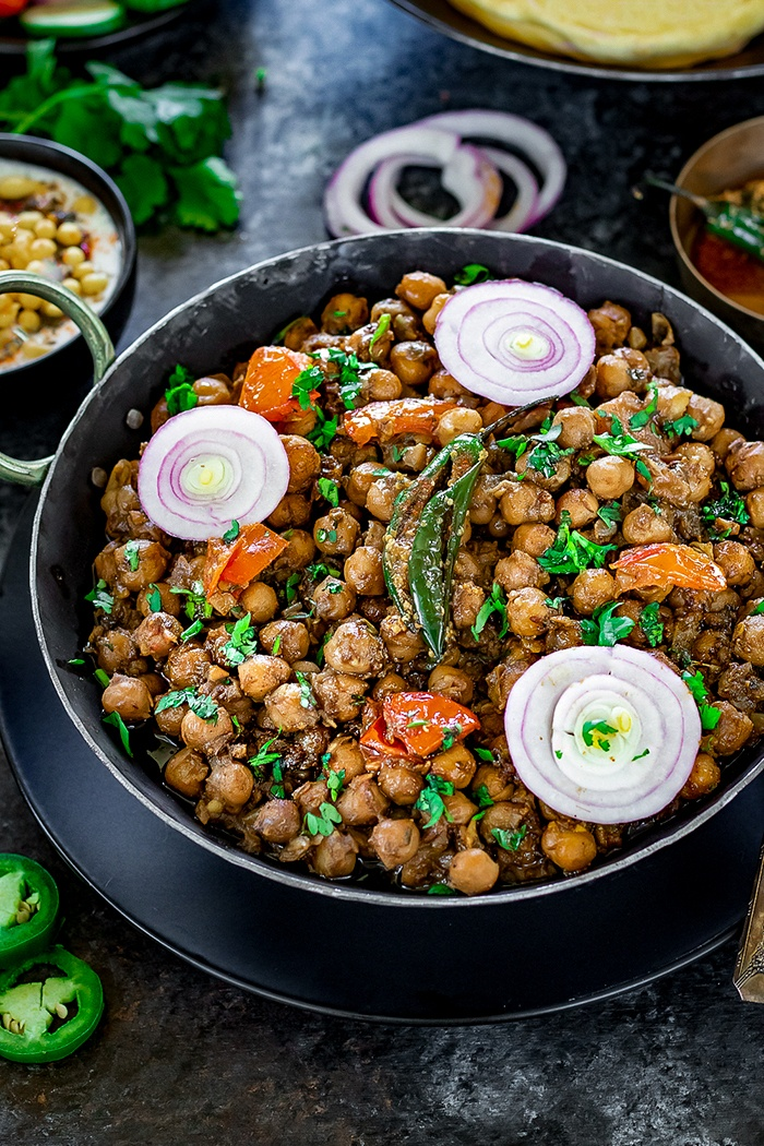 Instant Pot Pindi Chole with onion rings and chili