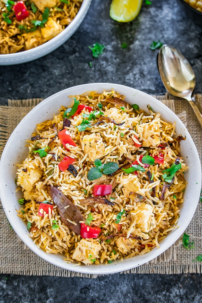 Instant Pot Paneer Biryani in white bowl