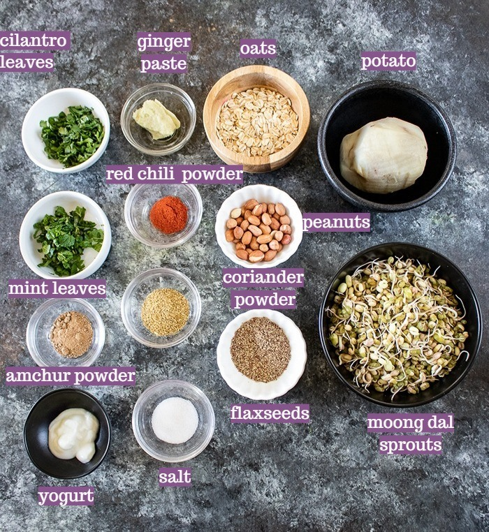 Ingredients required for sprouts tikki
