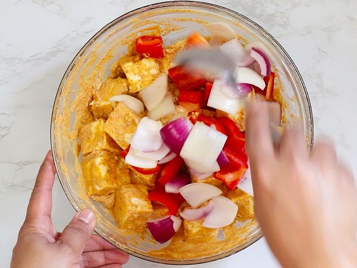 Mix veggies and marinated paneer