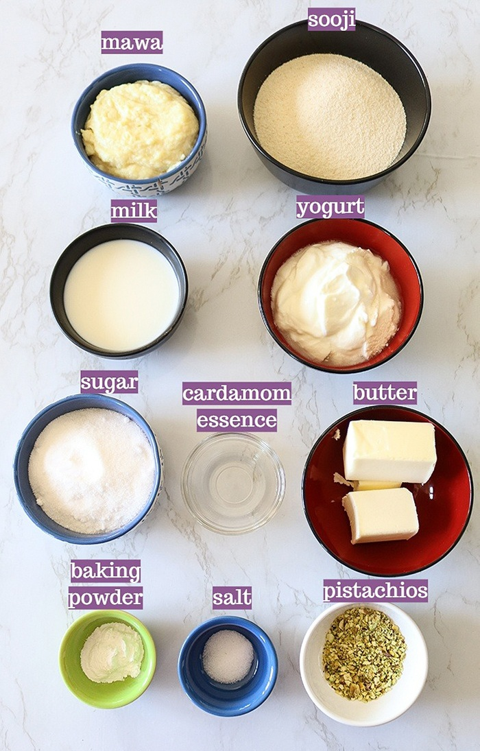 Eggless Sooji Mawa Cake ingredients