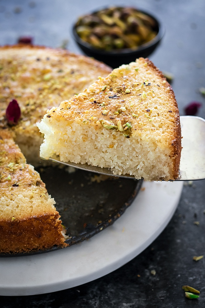 Cut slice of Semolina cake