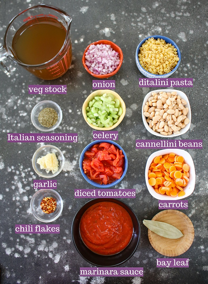 Ingredients required for Instant Pot Pasta E Fagioli Soup