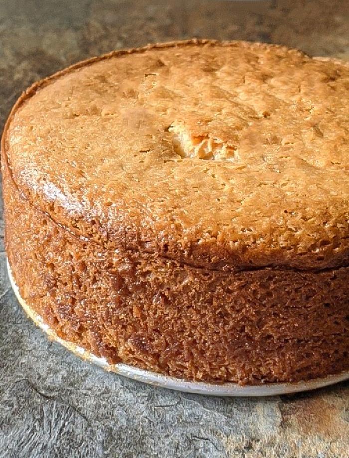 Eggless vanilla cake in 6-inch pan