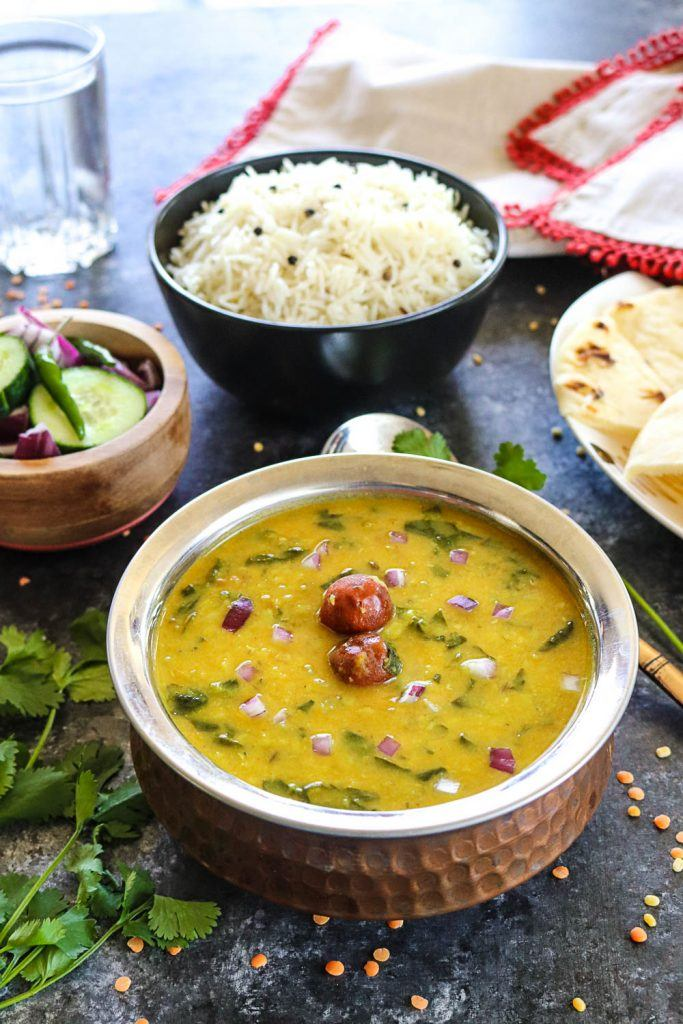 Instant Pot dal palak in a bowl