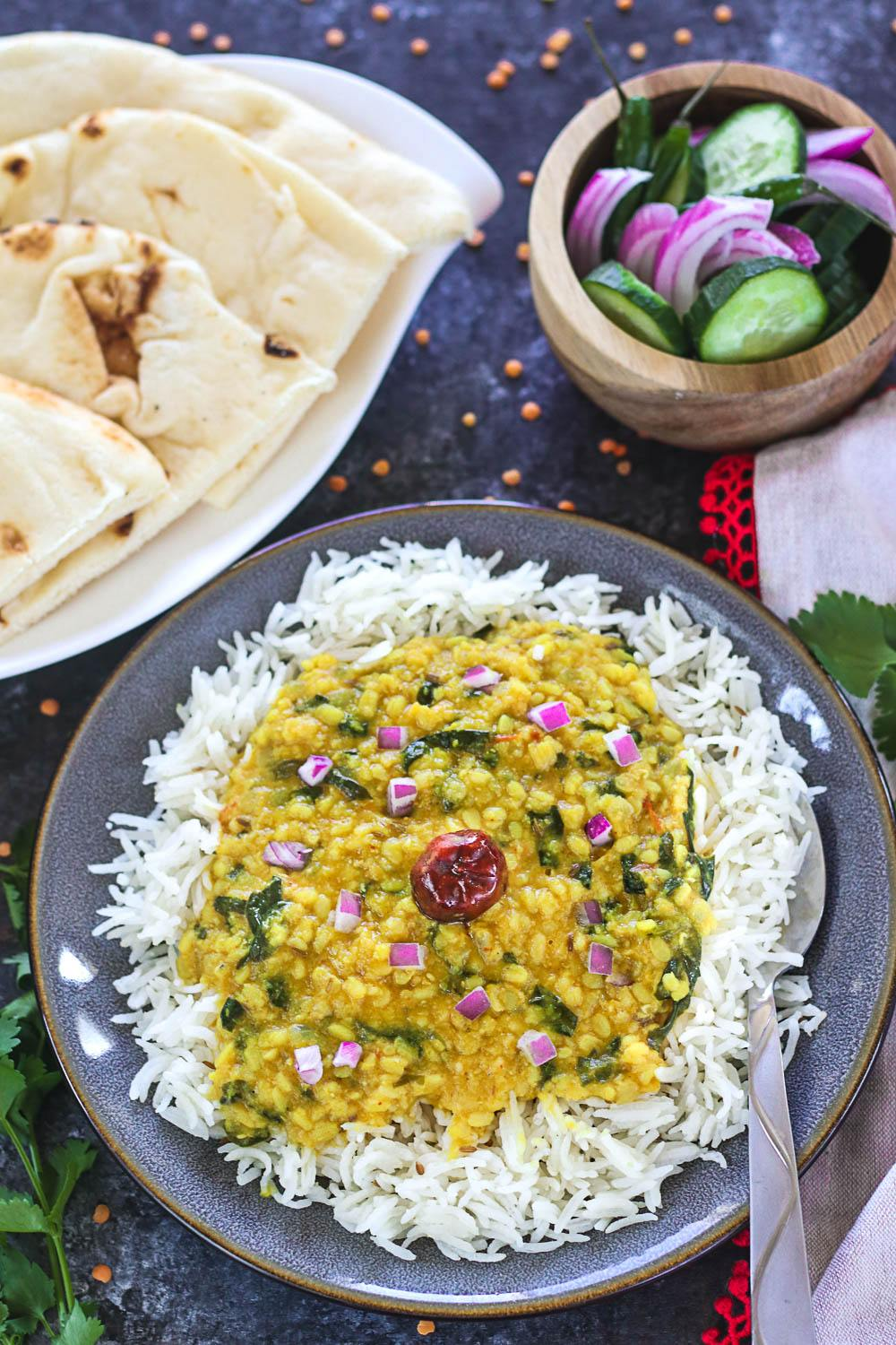 How to make Instant Pot Spinach Dal - Ruchiskitchen