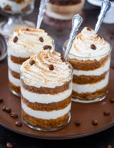 Eggless Tiramisu Trifle Cups on a brown plate