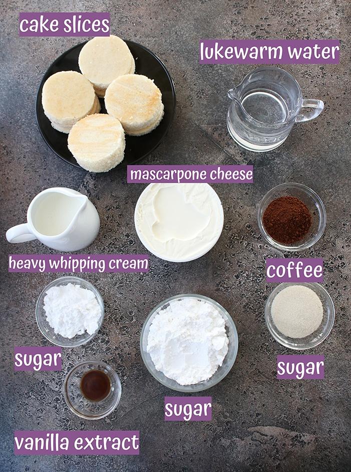 Ingredients for Eggless tiramisu trifle cups