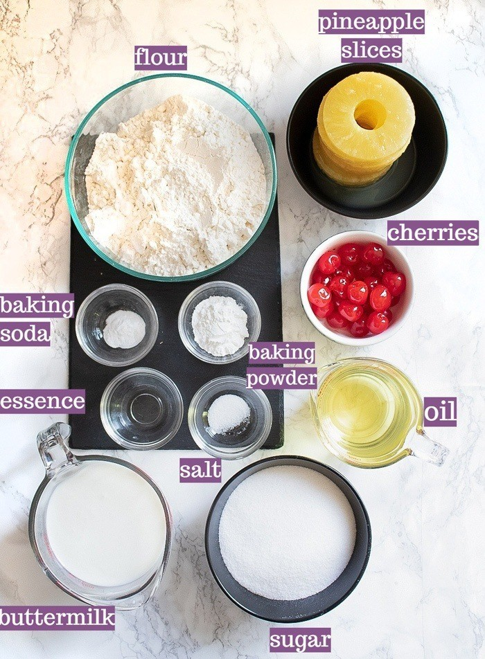 Ingredients for Pineapple Upside Down