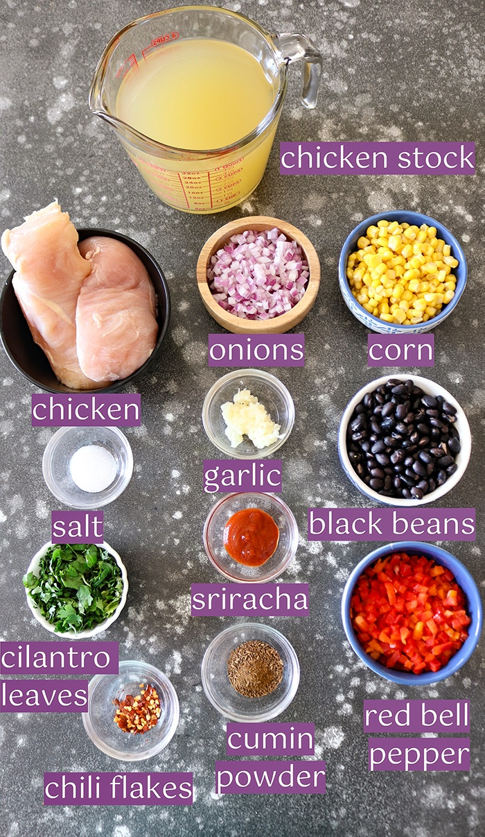 Simple Ingredient list for the soup