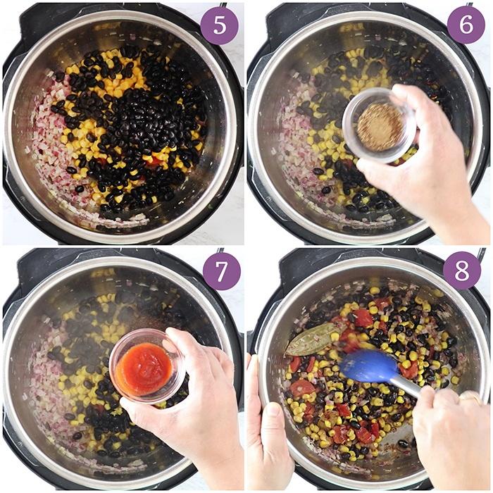 Sauté beans and corn in Instant Pot