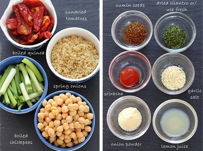Ingredients for Sun-dried tomato chickpea burger