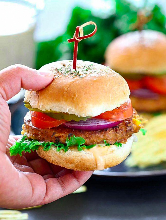 Sun-dried tomato chickpea burger with stick on top