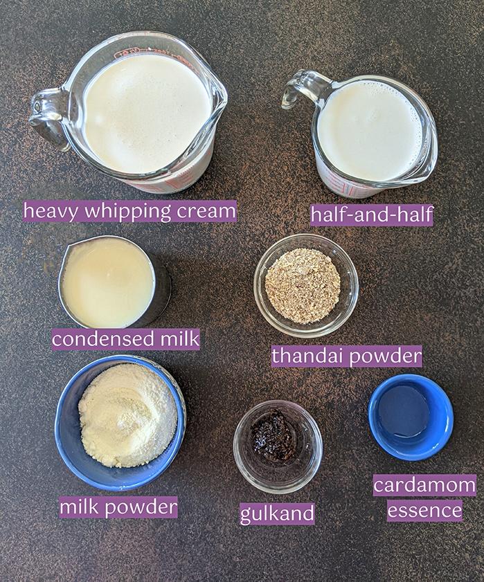 Thandai Gulkand Ice cream ingredients