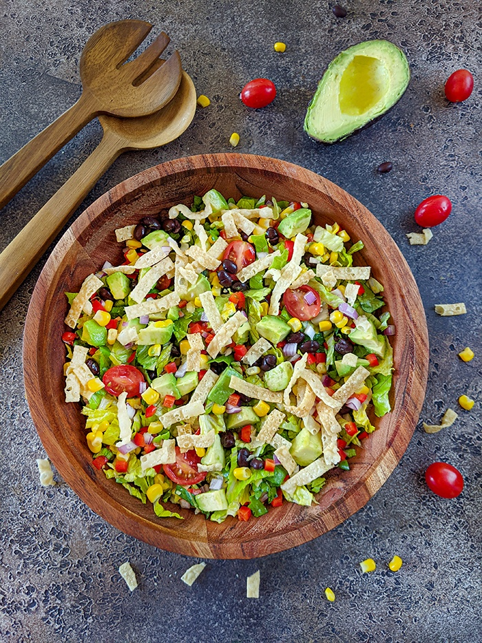 Southwestern black bean and corn salad in a bowl