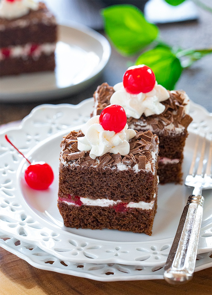 Eggless Black forest pastry on a plate